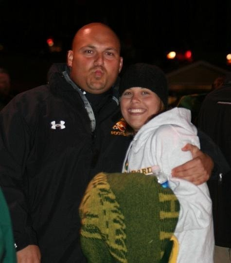 Megan and Her Husband Dave at A football Game When they Worked at North Harford