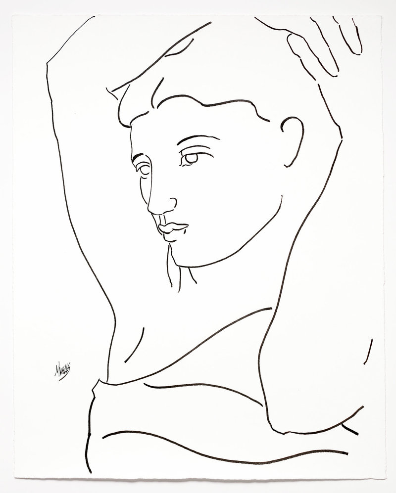 original ink drawing on paper based on Picasso's study of woman with her arms raised.