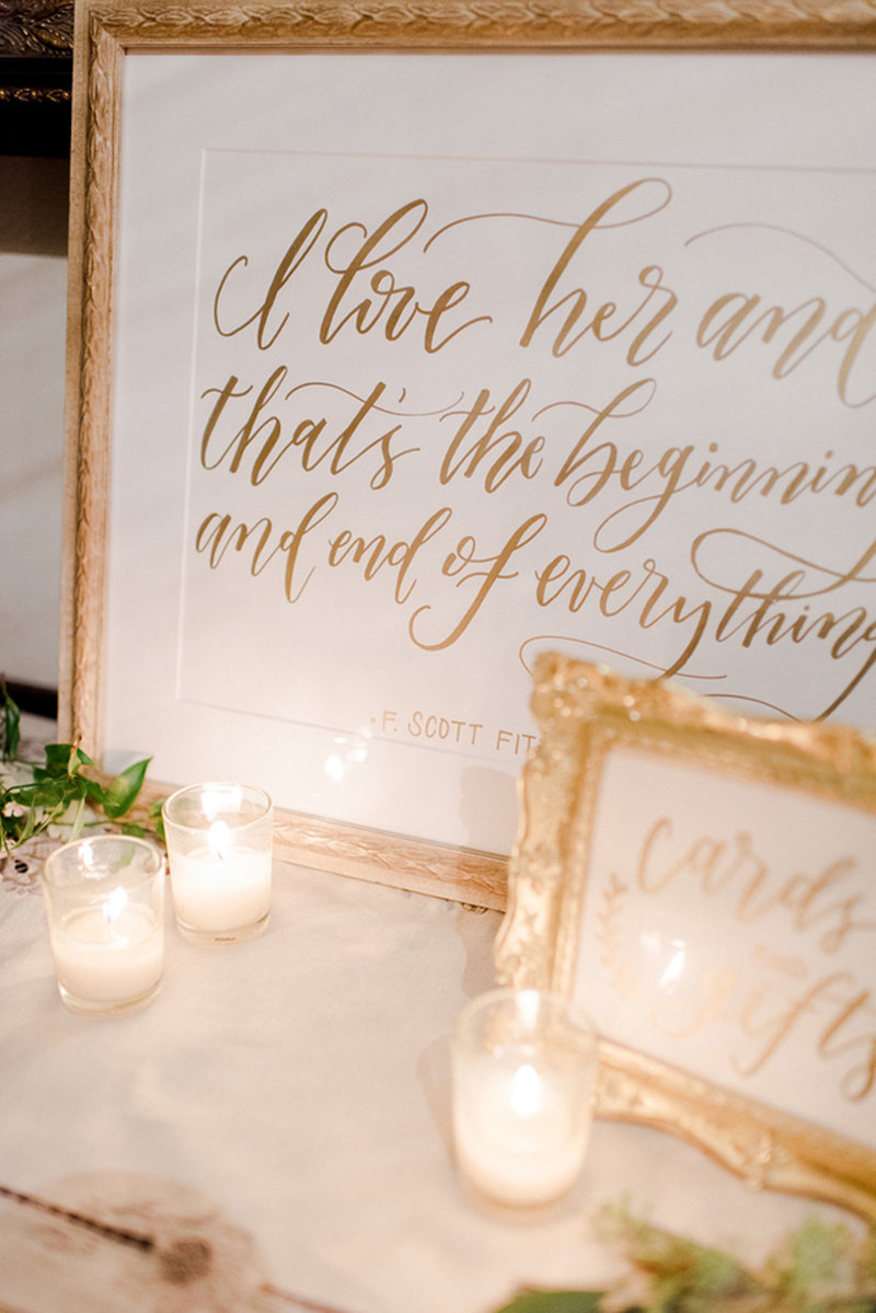 Closeup of hand lettered wedding details