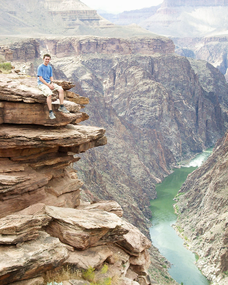 No Photoshop, no illusion, yep, properly sitting on the edge of the Grand Canyon in 2005!
