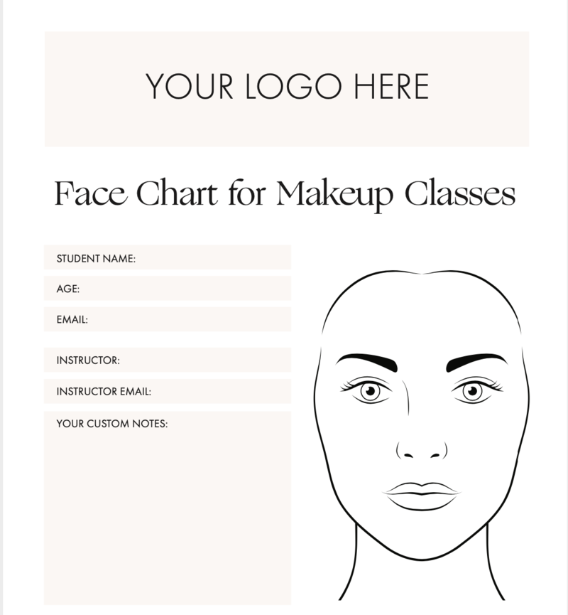 Face Chart for Makeup Classes