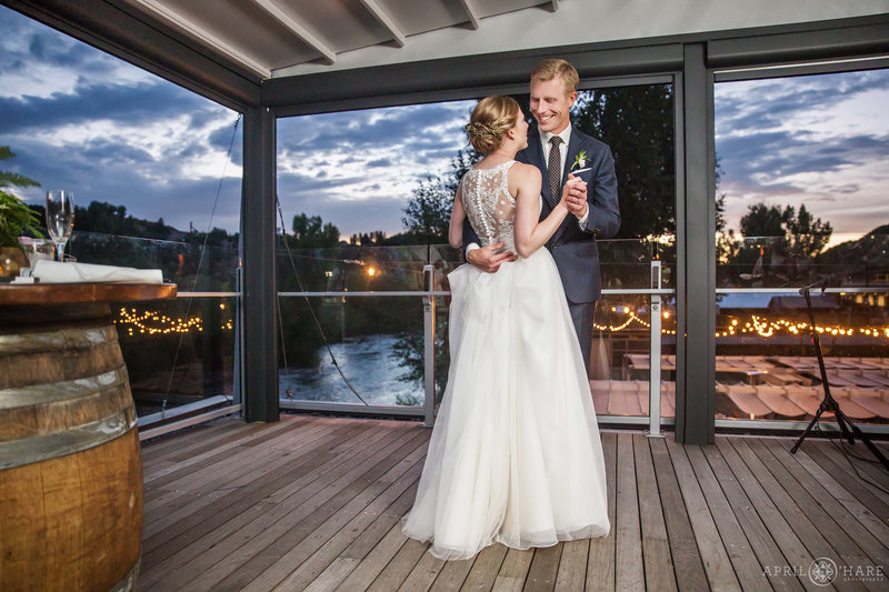 First-Dance-on-Patio-Wedding-Reception-at-Aurum-Food-&-Wine-in-Steamboat-Springs-CO