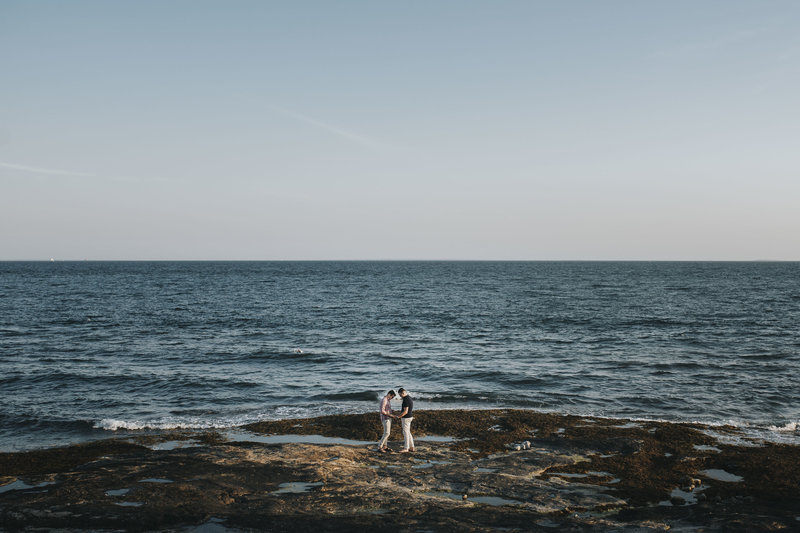 Couple on the beach during Connecticut Engagement Session