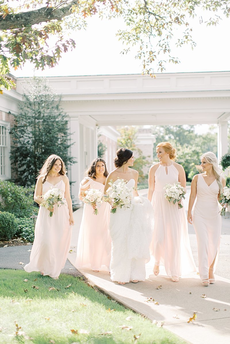 Bride and bridesmaids in blush pink