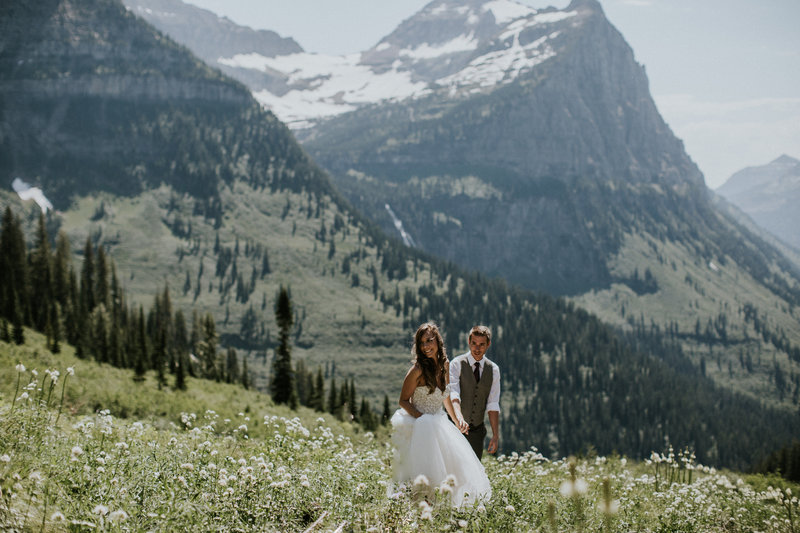 Glacier National Park MT Mountain Elopement Couple Holding Hands