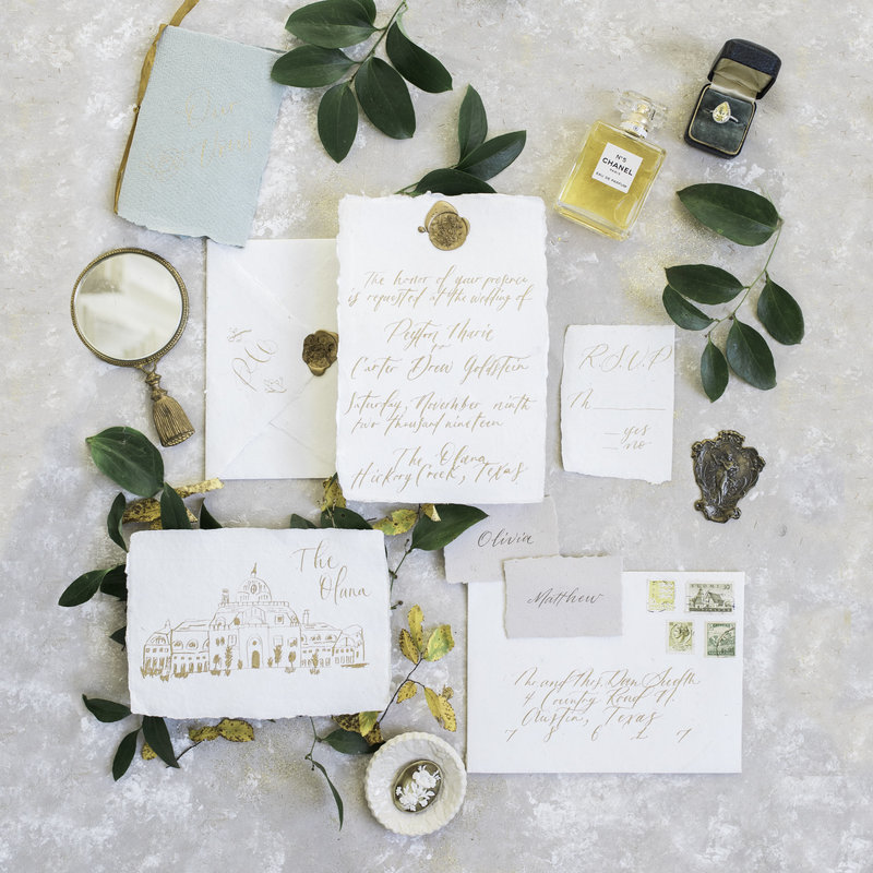 Wedding invitation flat lay