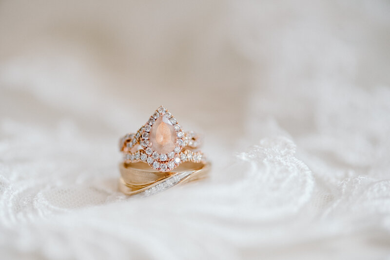 rose gold wedding ring on a veil