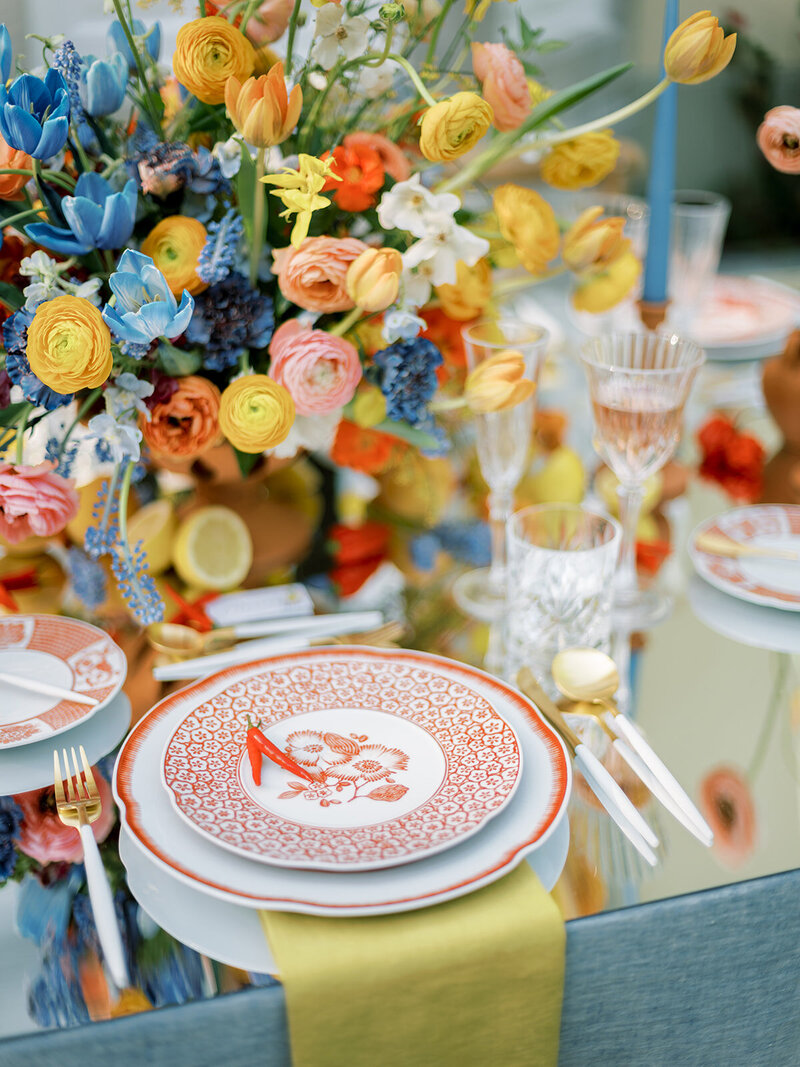 Colorful Wedding Table Ideas for a Portugal Outdoor Wedding by Sofia Nascimento Studios