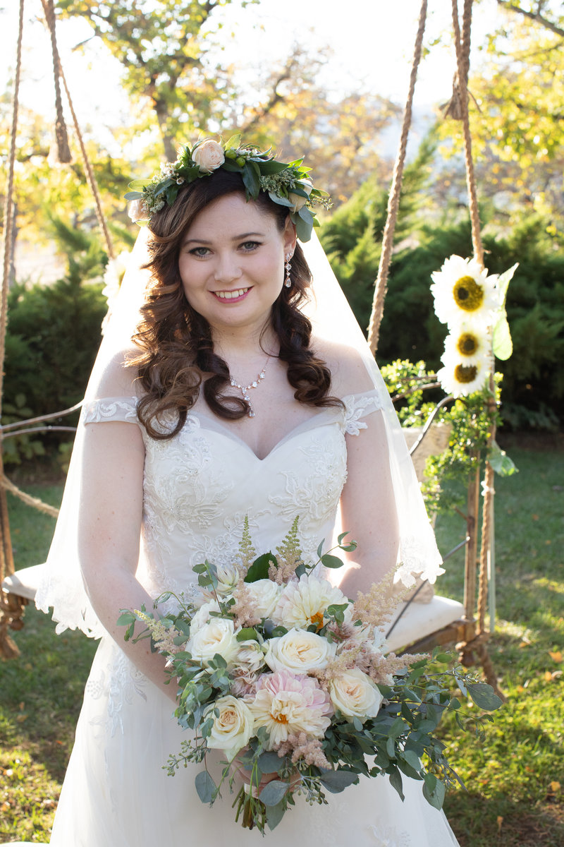 bride with swing