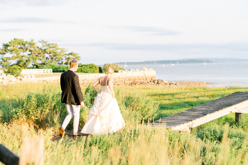 Bride and Groom by water in Duxbury