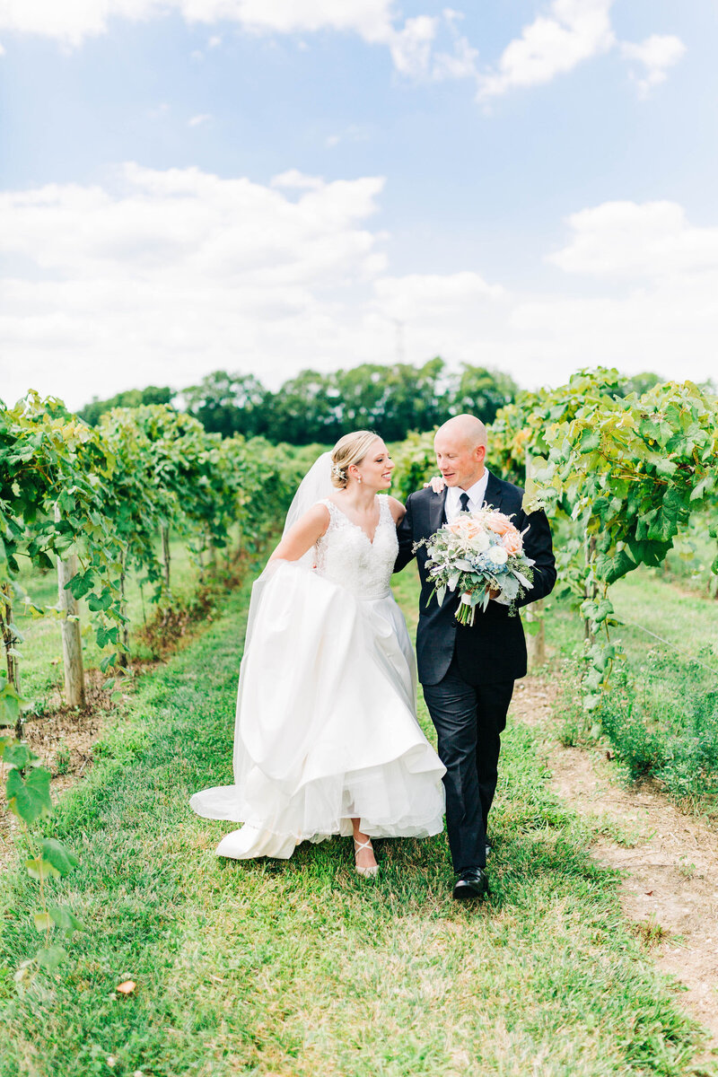 Bride and groom in sycamore at mallow run vineyards on wedding day