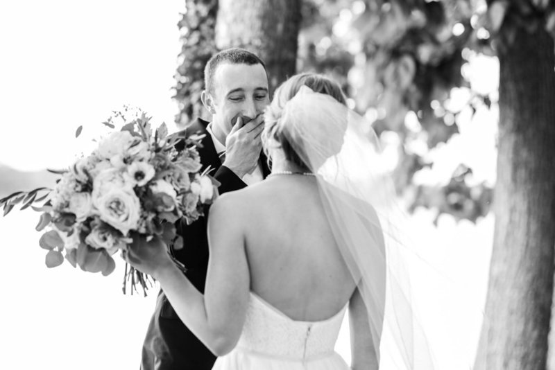 groom seeing bride for the first time at eastern shore wedding at kirkland manor by costola photography