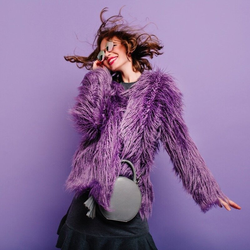 Crop Purple Faux Fur Coat