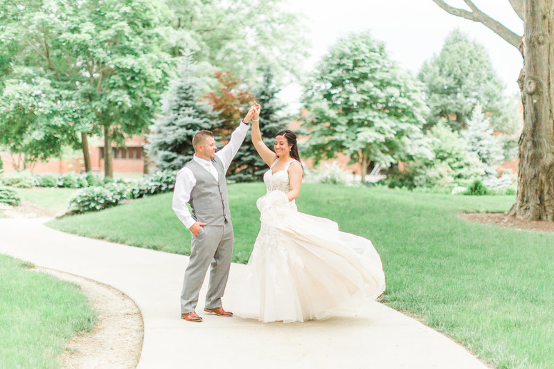 Bride and Groom Kent Ohio Wedding Dress