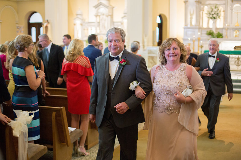 Groom's parents at St. Patrick's Church wedding