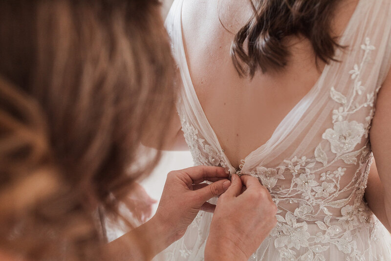 Putting on Dress, Wedding at Mount Crescent