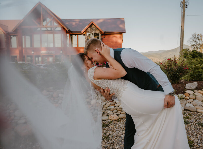 Smoky Mountain Cabin Wedding bride dip