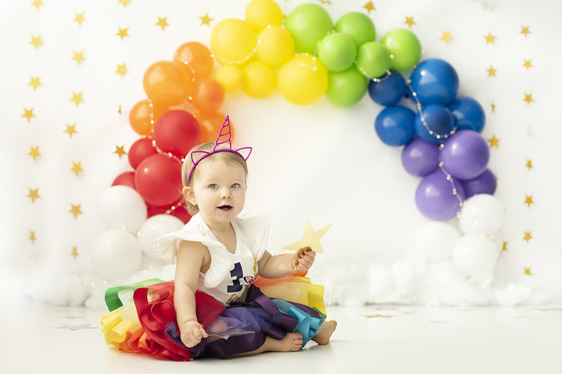 columbus ohio photographer cake smash rainbow baby over the rainbow unicorn first birthday