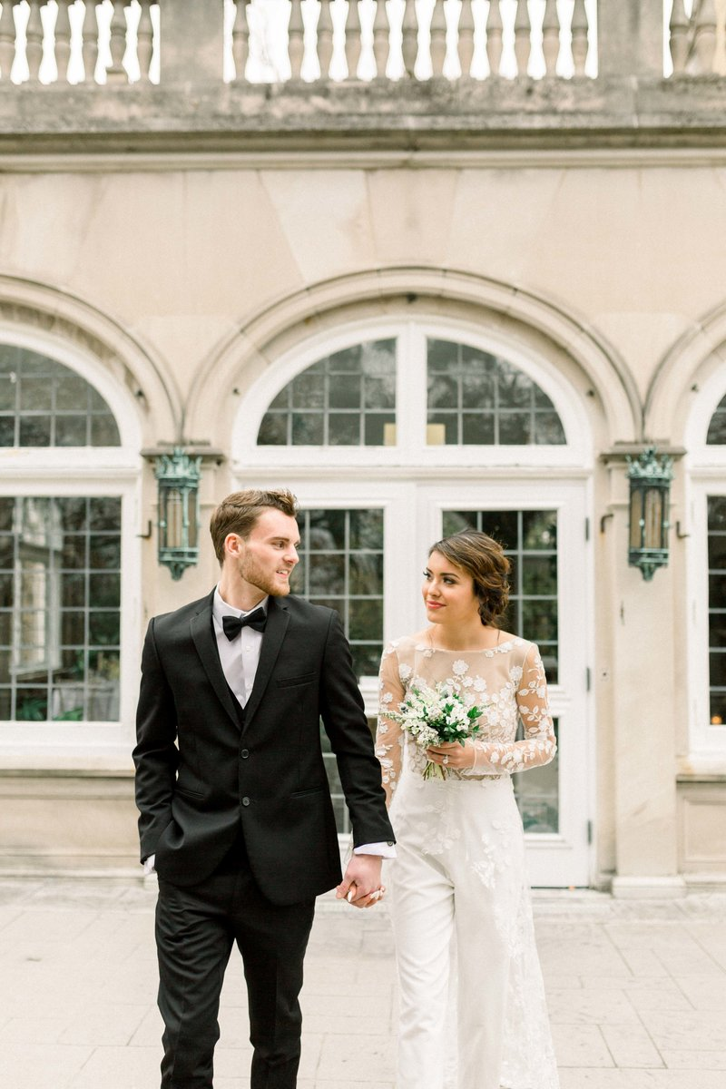 Neutral, romantic wedding bride and groom - Solstice Floral