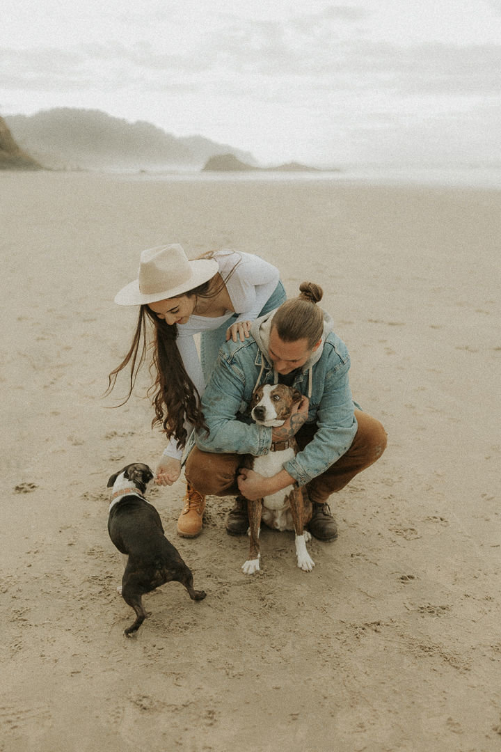 Couple playing with their two dogs on Canon Beach during their engagement session