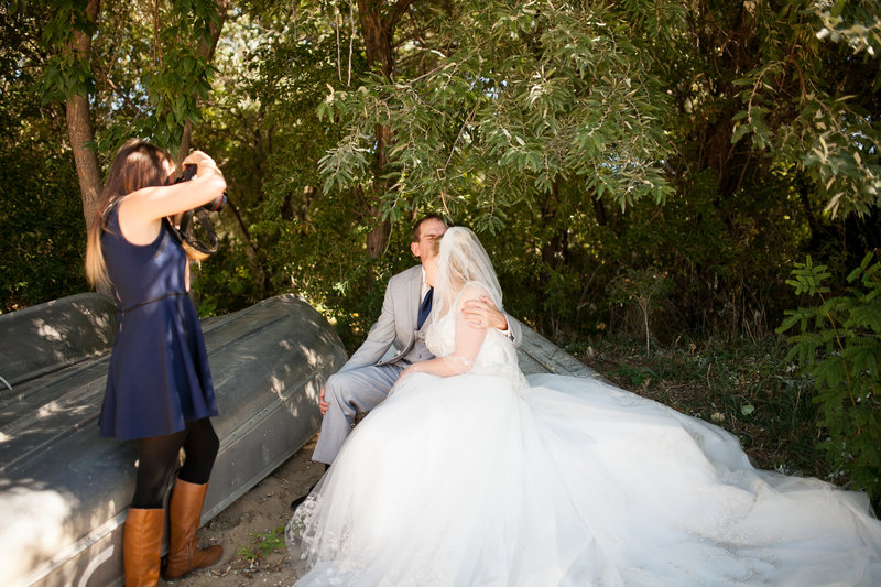 Melissa Photographing a bride and groom