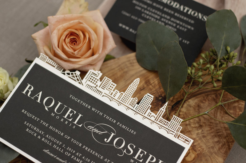 Intricate laser cut design of the Cleveland skyline by Brittney Nichole Designs.