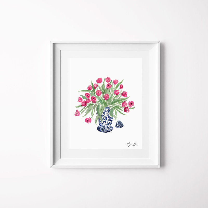 ginger jar tulips watercolor art print mockup