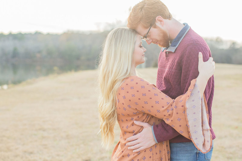 Anna & Mitchel engagement session in a field, Mississippi