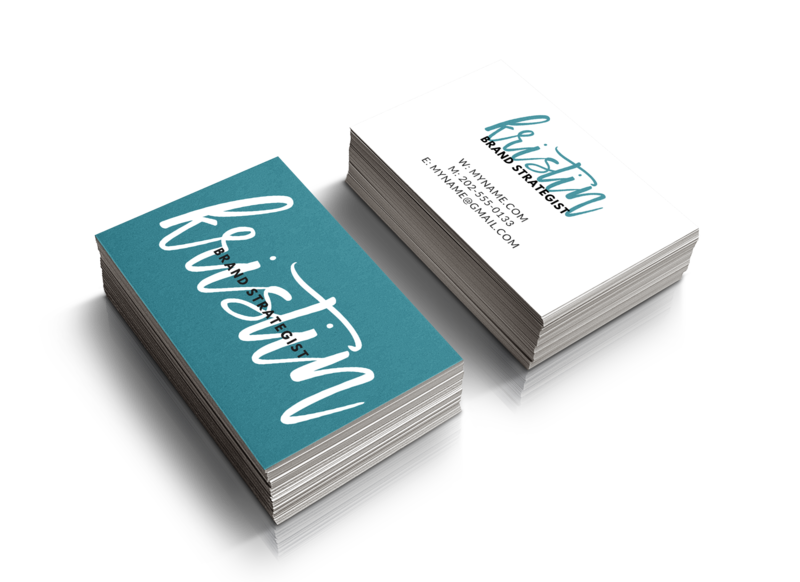 Name Script Business Card Mock-Up