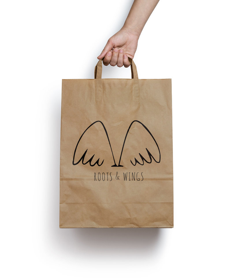 Roots & Wings Shopping bag design