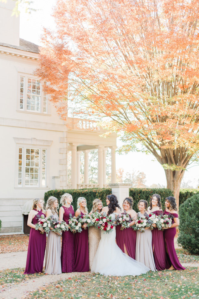 bridesmaids in wine dresses at great marsh estate wedding in northern virginia by costola photography