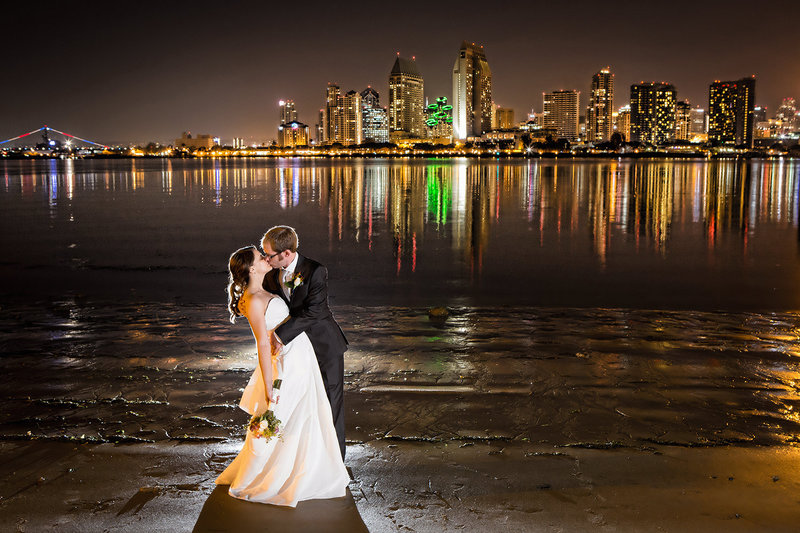 Tidelines Park wedding photos night shot san diego skyline