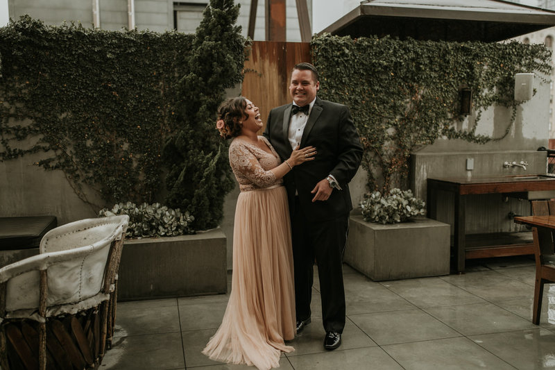 Bride and groom portraits at this Natural History Museum wedding in Los Angeles on New Years Eve