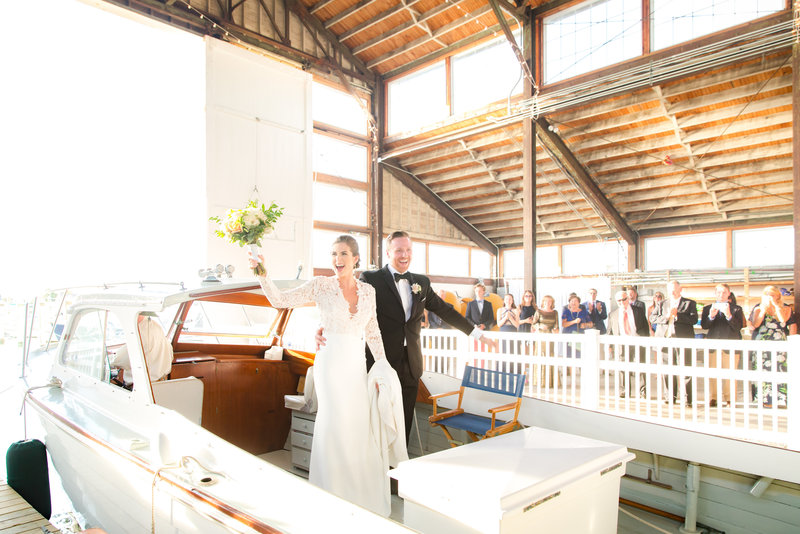 Wedding exit on a boat