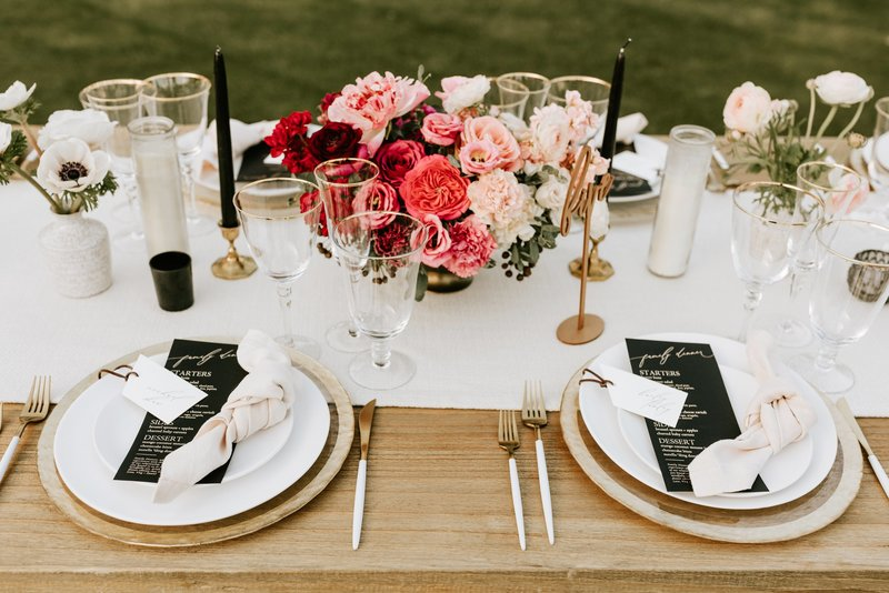 Modern black + white travel themed wedding day