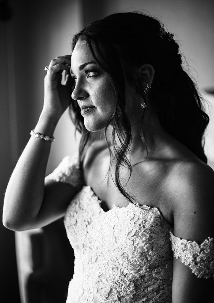 Portrait of bride before her Sheraton Erie Bayfront Hotel wedding