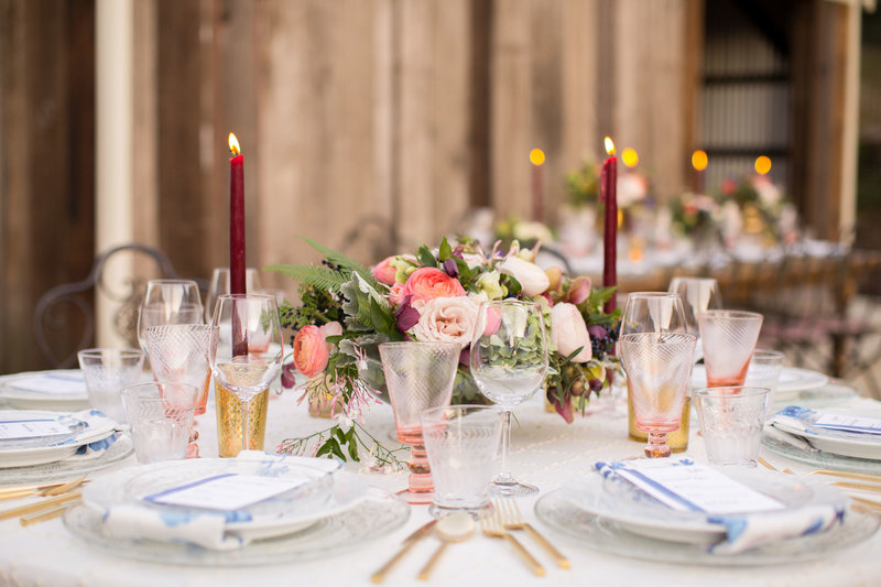 Tablescape for wedding by Jenny Schneider Events in Sonoma, California. Photo by BrittRene Photography.