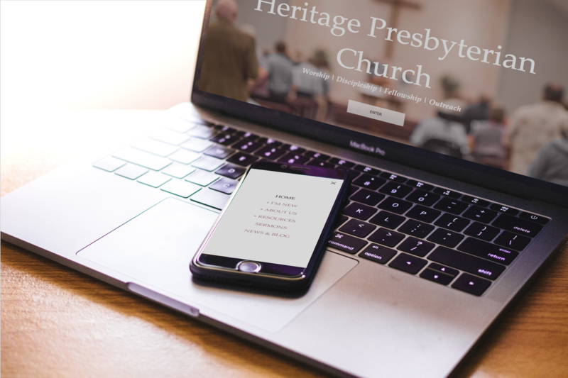 Mobile and Desktop view of the heritage Presbyterian Church website.
