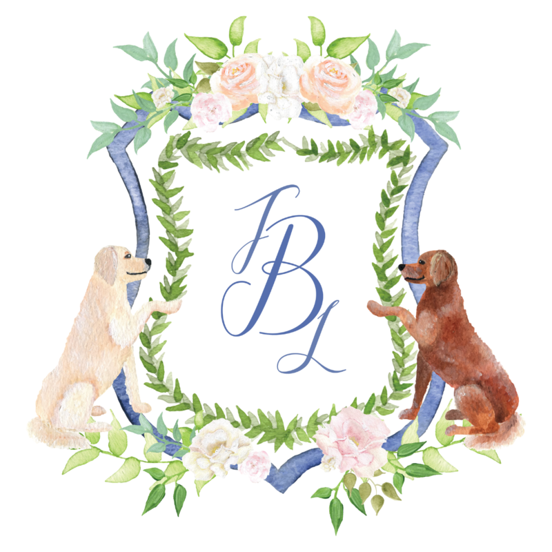 Custom watercolor wedding crest with Golden Retriever dog portraits