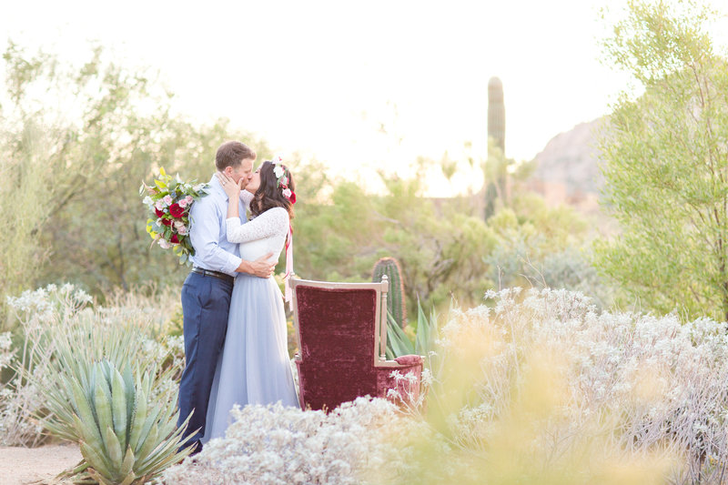 French Blue Engagement Session with Flower Crown Scottsdale, Arizona | Amy & Jordan Photography