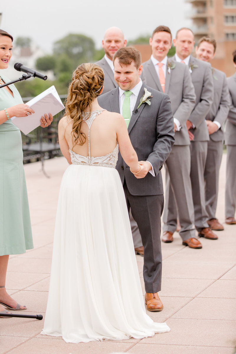 Outdoor wedding ceremony at Molly Pitcher Inn, Red Bank