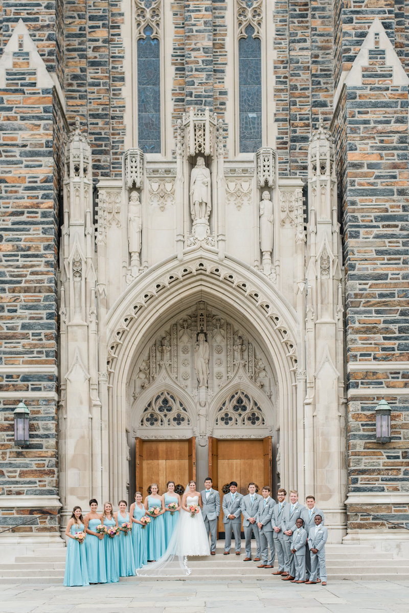 bridal party at duke chapel wedding