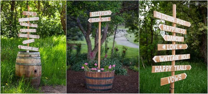 Wood signs throughout Chatfield Farms Denver Botanic Gardens in Colorado