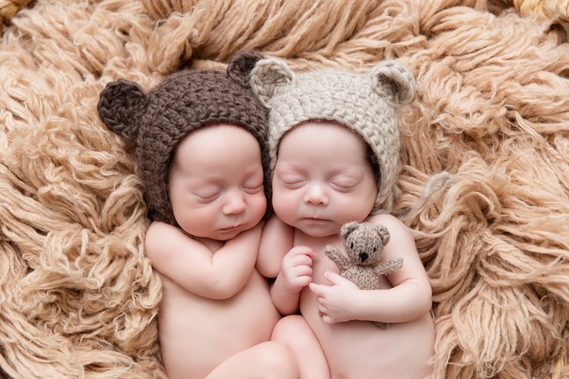 baby twins with bear hats