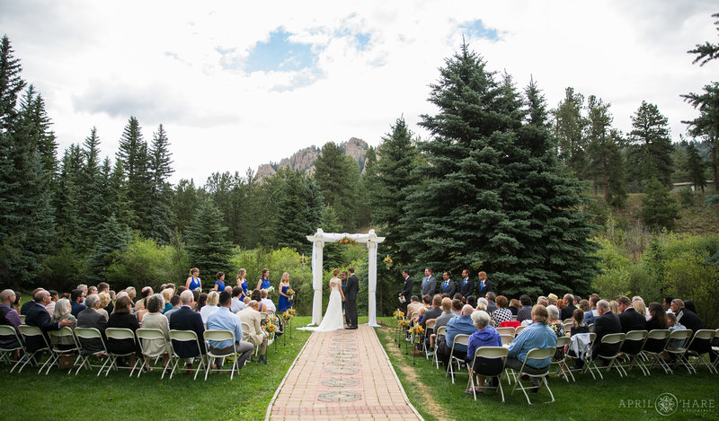 Outdoor wedding with mountain view in Colorado