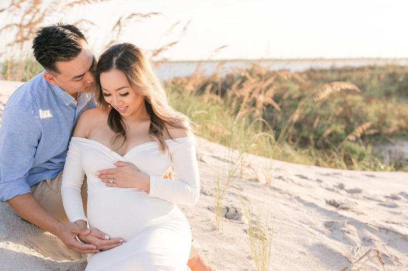 beach maternity session sunset florida