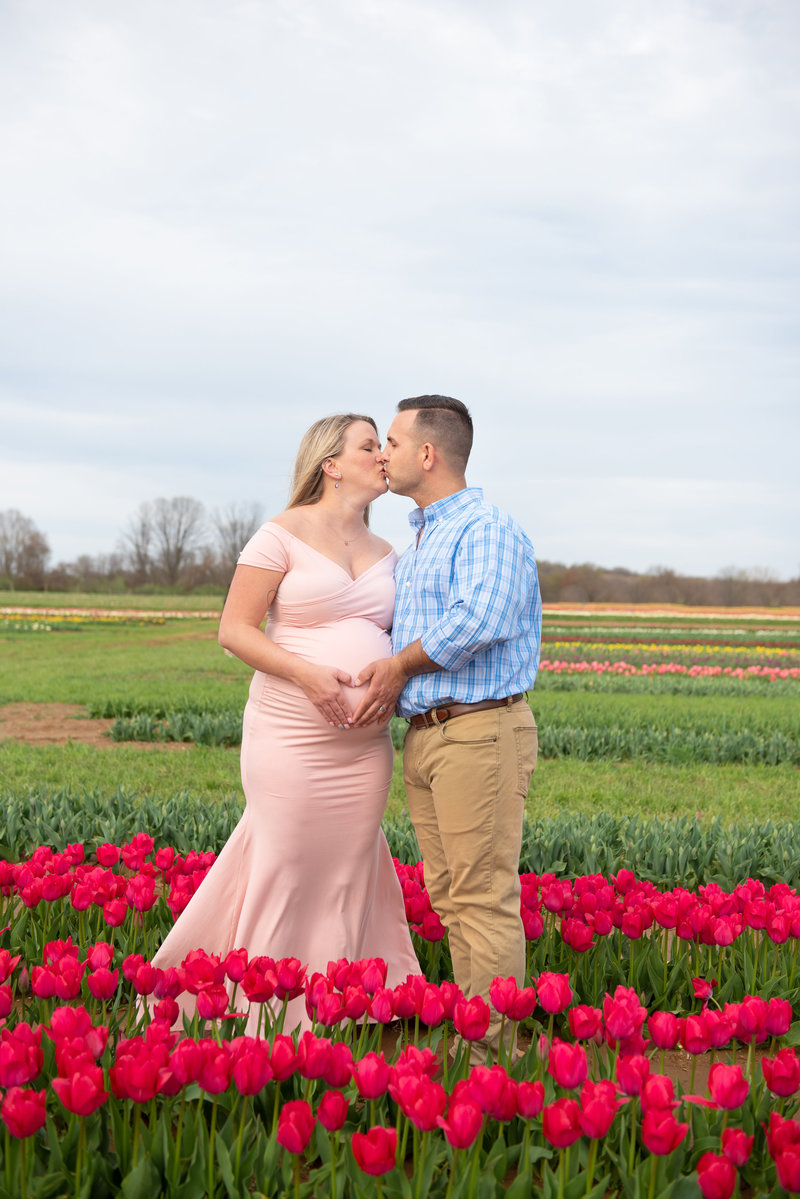 spring lifestyle maternity session at holland ridge tulip festival