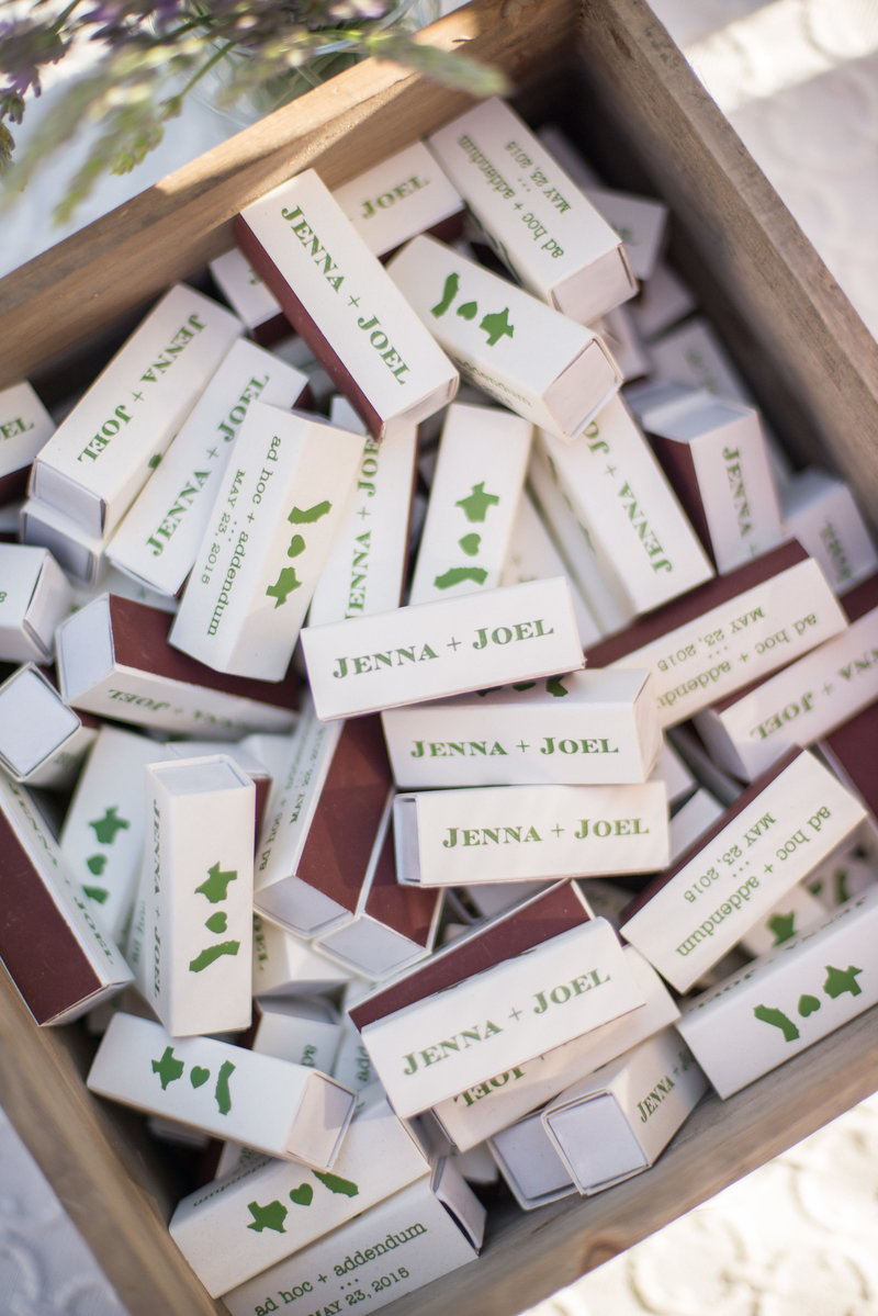 Monogrammed guest favors for wine country engagement dinner by Jenny Schneider Events.