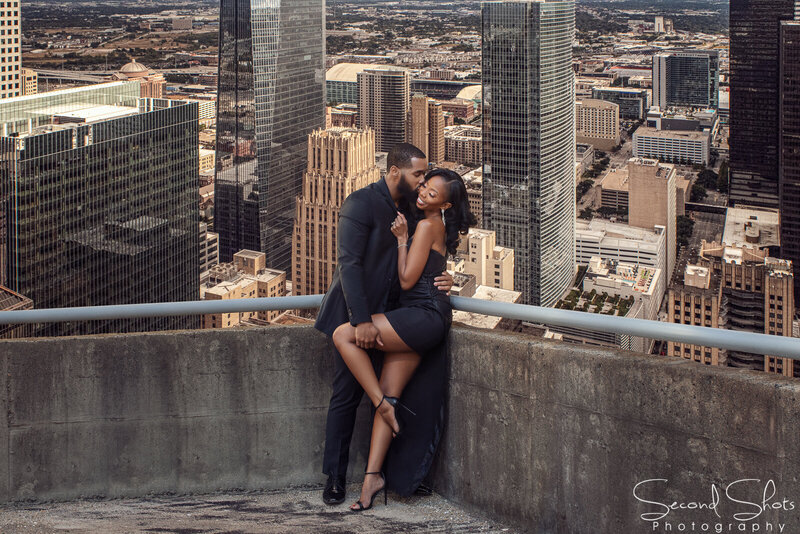 061 Houston Downtown Engagement Photo