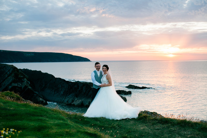 Sunset wedding at cliff, cliff hotel and spa wedding
